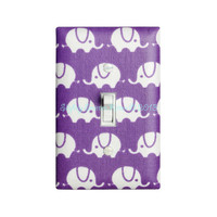 Elephant Light Switch Cover / Purple Elephant Nursery Decor / Light Switchplate / Baby Girl / Lilac White