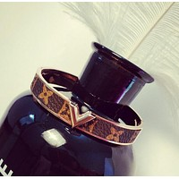 LV Louis Vuitton Fashion Women Men Titanium Steel Rose Golden Print Bracelet Jewelry