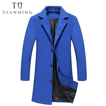TIAN QIONG Men's Long Wool Trench Coats Winter Trench Coat Men Single Breasted Coat Overcoat Casual Slim Fit Windbreaker