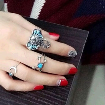 Sexy Nice 1 Set Personality Leaf Knuckle Midi Mid Finger Tip Stacking Chain Rings = 5988126849
