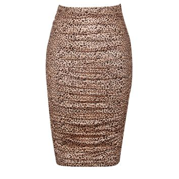 Take Me There Leopard Animal Print Ruched Detail Skirt