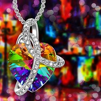 FREE! Rainbow Heart Swarovski Crystal Necklace in 18K Gold Plated