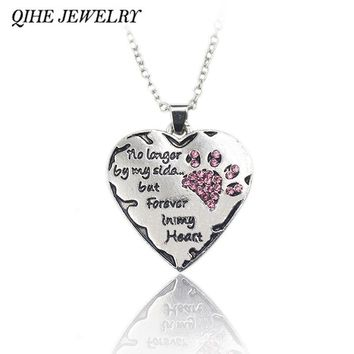 """No Longer By My Side But Forever In My Heart"" Crystal Cat Paw & Heart Necklace"