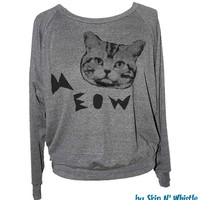 Womens CAT SWEATSHIRT -- american apparel S M L -- (5 Color Options)