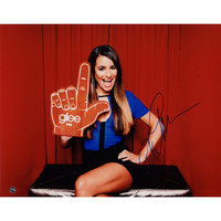 Lea Michele Signed Horizontal w Glee Foam Finger 11x14 Photo