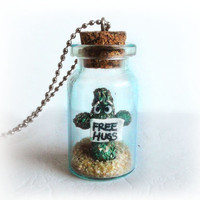 Free hugs cactus in a bottle necklace, funny jewelry, bottle pendant, polymer clay jewelry, geeky, personalized gift