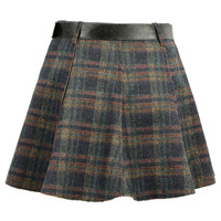 Green Plaid A-line Mini Skirt