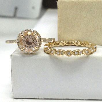 Morganite Wedding Ring Set!Diamond Engagement Ring 14K Yellow Gold,Art Deco,7mm Round Cut Pink Morganite,Halo,Stacking Full Matching Band