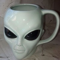 VTG Alien coffee cup mug mint light green figural