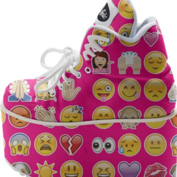 pink emoji platform shoes created by GossipRag | Print All Over Me