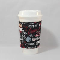 Slide On Coffee Cozy Made With Chalkboard Inspired Coffee House Fabric