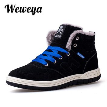 Weweya New Fashion Men Winter Snow Boots Keep Warm Boots Plush Ankle Boot Snow Work Shoes Casual Men's Snow Boots Size 39-45
