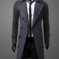 Plain Turndown Collar Notched Coat