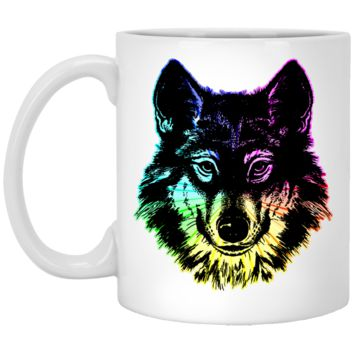 Wolf Mug by Living You Co. | Wolf Coffee Mug, Neon Wolf Mug, Neon Wolf Coffee Mug