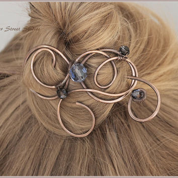 Hair Clip Women, Copper Hair Barrette, Copper Hair Slide, Hair Accessory, Navy Blue Beads, Wire Hair Pin Copper Wire Wrapped, Hair Jewelry