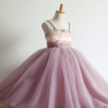 "The ""Marianna"" Purple Crystal Beaded Ball Gown"