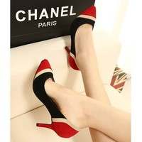 Charming Tri Toned Suede Pointed Toe Stitched High Heels Pumps 2 Colors