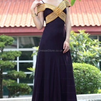 A-line Straps Chiffon Floor-length Purple Beading Evening Dress at dressestore.co.uk