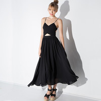 Casual Black Spaghetti Strap Criss Cross Strappy Back Midi Dress