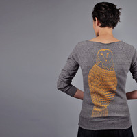 Grey Owl Sweatshirt Off Shoulder Eco Fleece Gold Owl by sealmaiden