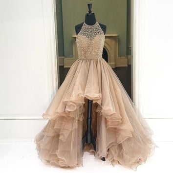 Copy of Round Neck High Low Champagne Prom Dresses, High Low Formal Dresses J5430