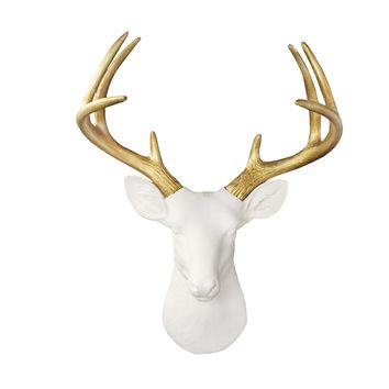 Large White + Gold Fake Taxidermy Deer Head | Free US Shipping & Hassle-Free Returns