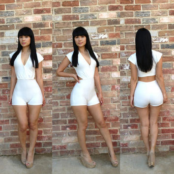 White V Neck Cap Sleeve  Bodycon Jumpsuit