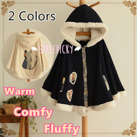 2 Colors Winter Kawaii Fluffy Fleece Cape With Kitten On Back SP141478 from SpreePicky