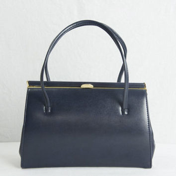 Vintage 1950s Navy Blue Handbag Leather Kelly Bag