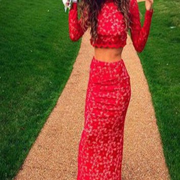 Two Piece Prom Dress,Red Prom Dresses,Long Evening Dress