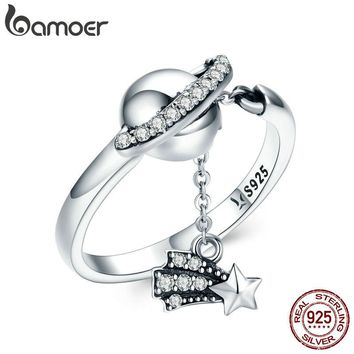 BAMOER 100% 925 Sterling Silver Bright Galaxy Sparkling Star Plant Finger Rings for Women Wedding Engagement Jewelry Gift SCR377