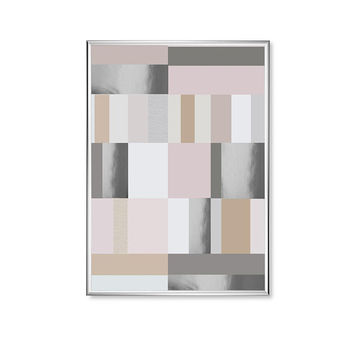 Pastel Mosaic Mix Shapes, Pink Shapes, Geometric Poster, Gold Square Print, Shapes Print, Real Silver Foil, Home Decor, Modern Art Poster,