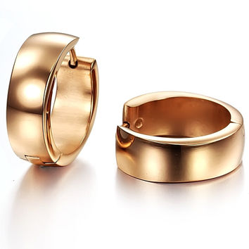 Ms rose gold plated surface both men and women fashion titanium steel stud earrings