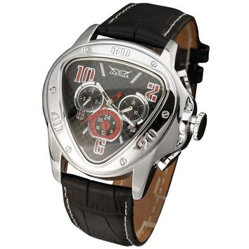 Fashion Luxury Mens Automatic Mechanical Wrist Watches Top Brand WINNER Triangle Men's Watches 3 Sub-dials 6 Hands reloj hombre