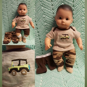 "Boy Baby Doll Clothes ""Jeepers Creepers"" 15 inch doll outfit Will fit Bitty Baby® Bitty Twins®  top pants shorts socks Jeep safari  O4"