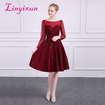 Linyixun New Red A-line Homecoming Dresses 2018 With Beaded  Scoop Long Sleeves Appliques Prom Dresses Short Graduation Dress