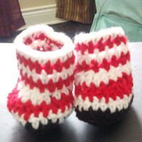 Crochet red and white stripped baby booties - custom booties - newborn booties - baby booties