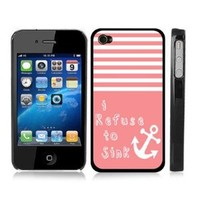 Pink Striped Anchor Sailor Sea Life Snap-On Cover w/ Black Hard Carrying Case for iPhone 4/4S - I Refuse to Sink: Cell Phones & Accessories