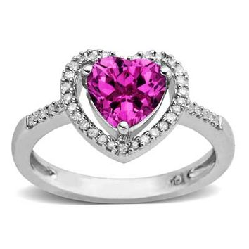 7.0mm Heart-Shaped Lab-Created Pink Sapphire and 1/10 CT. T.W. Diamond Ring in Sterling Silver