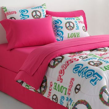 Veratex Peace & Love Reversible Comforter Set (Pink)