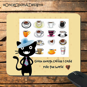 Coffee Cat mousepad coffee quotes mousepad cat mousepads custom made mousepad black cat mousepad funny coffee mousepad