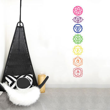Chakras Wall Decal, 7 chakras, spiritual decal, namaste decal, Meditation, Yoga Studio Decal, Reiki & Chakras, New Age Religion Indian Decal
