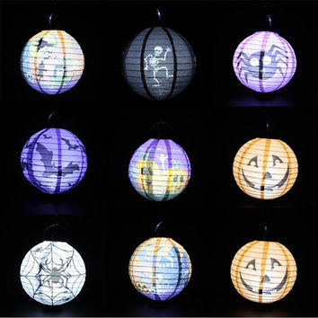 5pcs/lot  Foldable  Halloween Pumpkin Paper Lantern 22CM Multiclor Outdoor Hanging Lanterns With Led Bulb Halloween Decorations