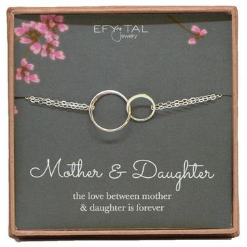 DCCKV2S Mother Daughter Bracelet - Sterling Silver two interlocking infinity circles, Mothers Day Jewelry Gift