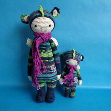 Dirk dragon and mini dragon, Lalylala inspired crochet dolls.