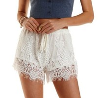 Ivory Eyelash Lace Drawstring Shorts by Charlotte Russe