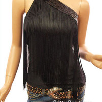 PattyBoutik Black Sequins One Shoulder Fringe Clubwear Top S M L XL