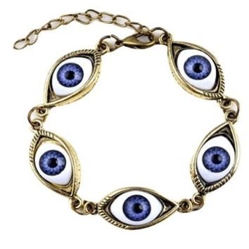 Easygoby Fashion Punk Style Bronze Evil Eyes Chain Bracelet with Acrylic Beads for Women Lady