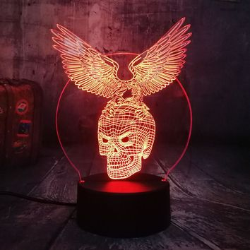 Novelty Skull Eagle Wings 3D LED Night Light 7 Colors Remote Control