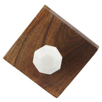 Wood Hooks with Marble on Front - Set of 2